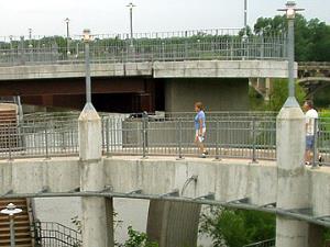 Ramp on new pedestrian bridge.