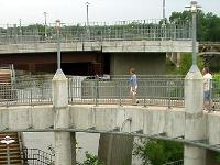Ramp on new pedestrian bridge.