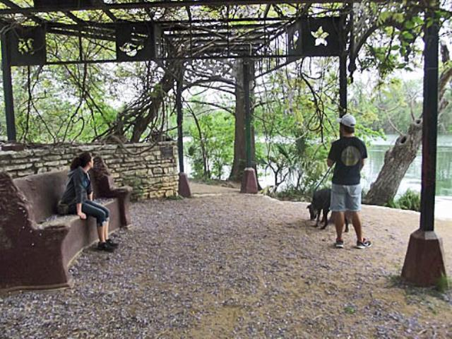 The Wisteria Arbor along the river.