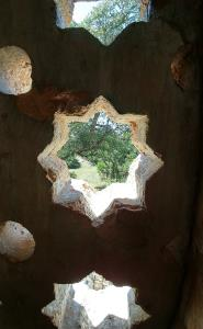 Stone window in the observation tower