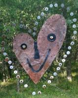 Quirky Yard Art - Smiling Heart