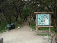 The trailhead includes an interpretive display informing hikers of the plants and animals one might find.