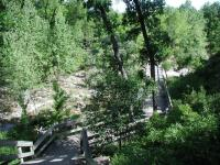 A winding boardwalk conveys the trail across a wide creek bed near the start of the hike.