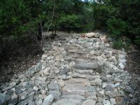 This well built rock staircase makes crossing the creek easier.