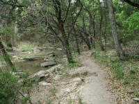 Most of the trail follows the creek, often closely.