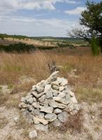Rock cairns mark Indiangrass Trail