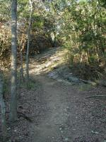The trail surface is mostly compacted dirt and gravel, typically in good shape.