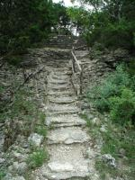 There are a few trail segments consisting of steps where steepness of the terrain required it.
