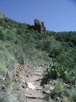 The switchbacks along the trail can be tiring.  But concentrating on the rock outcropping ahead helps you keep focus.