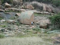 Austin Explorer next to some of the large boulders that have exfoliated from Buzzard's Roost.