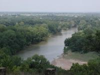 The view from the top of the ridge is stunning.  The Colorado River and city of La Grange sit 150 feet below.