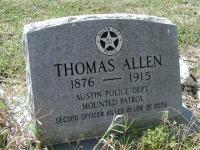 The grave of Austin Police Officer Thomas Allen, one of the earliest African-Americans in the department.