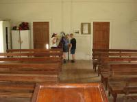 A view from the pulpit looking towards the back of the church.