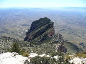 Looking over El Capitan from the top of Texas Guadalupe Peak