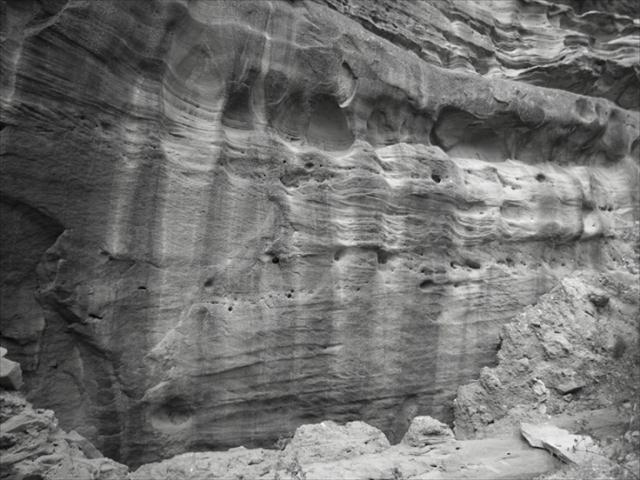 Eroded rock wall