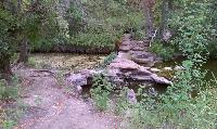 The Clear Fork Creek trail starts by crossing the creek on one of the many CCC era dams that can be seen along the trail.