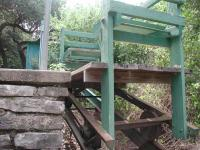 A closeup of the rail cart at the top of the hill.