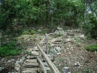 The rugged terrain of the northern half of the trail required extensive stonework by volunteers to construct.