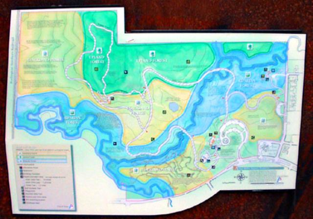 Map of the hike/bike trail in Arbor Hills Nature Center