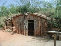 A replica dugout shelter used by Charles Goodnight when he first set up cattle ranches in the area in the 1870's.