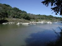 The trail ends at the Pedernales River.