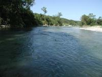 The Pedernales River, looking upstream from the trail crossing point.