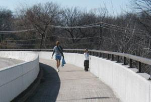 Nice pedestrian walkway along the street bridge.