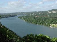 From the southern side of Mount Bonnell, looking south down Lake Austin.