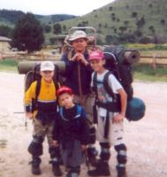 Me and my crew with homemade gaiters at Dog Canyon (gaiters lasted all of 1/4 mile)